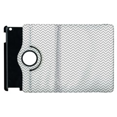 Silver And White Chevrons Wavy Zigzag Stripes Apple Ipad 3/4 Flip 360 Case by PaperandFrill