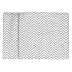 Silver And White Chevrons Wavy Zigzag Stripes Samsung Galaxy Tab 10 1  P7500 Flip Case by PaperandFrill