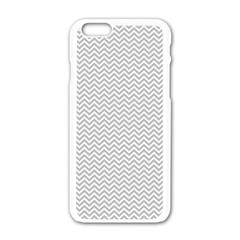 Silver And White Chevrons Wavy Zigzag Stripes Apple Iphone 6/6s White Enamel Case by PaperandFrill