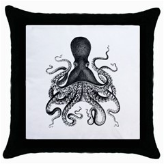 Vintage Octopus Throw Pillow Cases (black) by waywardmuse