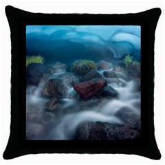 Iceland Cave Throw Pillow Cases (black)
