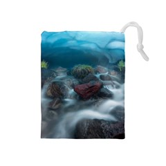 Iceland Cave Drawstring Pouches (medium)  by trendistuff