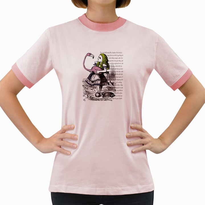 Flamingo Croquet Women s Fitted Ringer T-Shirts