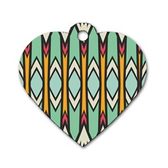 Rhombus And Arrows Pattern			dog Tag Heart (one Side) by LalyLauraFLM