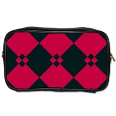 Black Pink Shapes Pattern Toiletries Bag (two Sides) by LalyLauraFLM