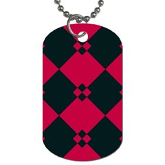 Black Pink Shapes Pattern			dog Tag (one Side) by LalyLauraFLM