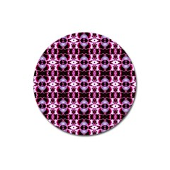 Purple White Flower Abstract Pattern Magnet 3  (round) by Costasonlineshop