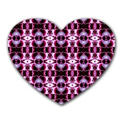 Purple White Flower Abstract Pattern Heart Mousepads by Costasonlineshop