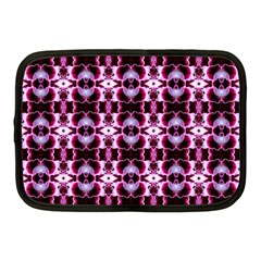 Purple White Flower Abstract Pattern Netbook Case (medium)  by Costasonlineshop