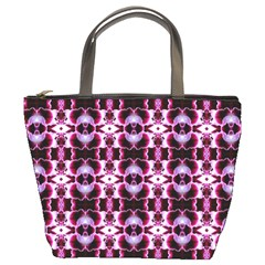 Purple White Flower Abstract Pattern Bucket Bags by Costasonlineshop