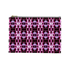 Purple White Flower Abstract Pattern Cosmetic Bag (large)  by Costasonlineshop