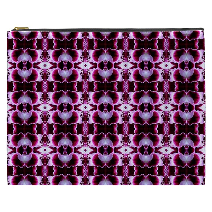Purple White Flower Abstract Pattern Cosmetic Bag (XXXL)