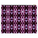 Purple White Flower Abstract Pattern Cosmetic Bag (XXXL)  Back