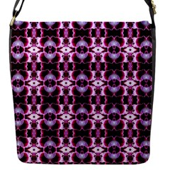 Purple White Flower Abstract Pattern Flap Messenger Bag (s) by Costasonlineshop