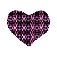 Purple White Flower Abstract Pattern Standard 16  Premium Flano Heart Shape Cushions