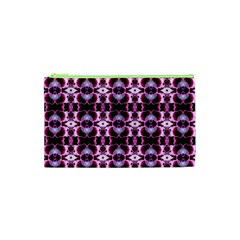 Purple White Flower Abstract Pattern Cosmetic Bag (xs) by Costasonlineshop