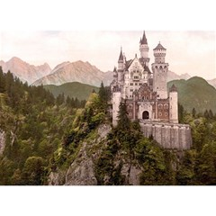 Neuschwanstein Castle Birthday Cake 3d Greeting Card (7x5)