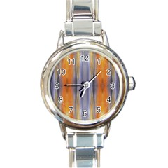 Gray Orange Stripes Painting Round Italian Charm Watches by Costasonlineshop