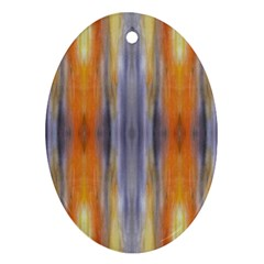 Gray Orange Stripes Painting Ornament (oval)