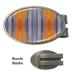 Gray Orange Stripes Painting Money Clips (oval)  by Costasonlineshop