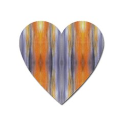Gray Orange Stripes Painting Heart Magnet by Costasonlineshop