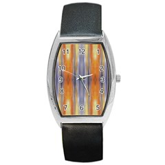 Gray Orange Stripes Painting Barrel Metal Watches by Costasonlineshop