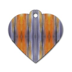 Gray Orange Stripes Painting Dog Tag Heart (one Side) by Costasonlineshop