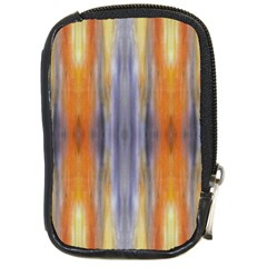 Gray Orange Stripes Painting Compact Camera Cases by Costasonlineshop