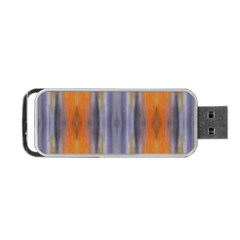 Gray Orange Stripes Painting Portable Usb Flash (one Side) by Costasonlineshop