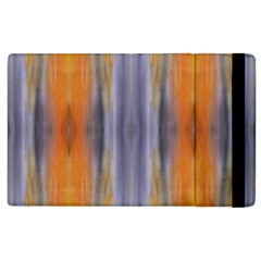 Gray Orange Stripes Painting Apple Ipad 3/4 Flip Case by Costasonlineshop