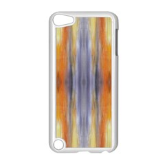 Gray Orange Stripes Painting Apple Ipod Touch 5 Case (white) by Costasonlineshop