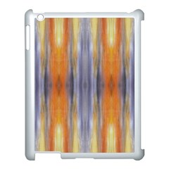 Gray Orange Stripes Painting Apple Ipad 3/4 Case (white) by Costasonlineshop