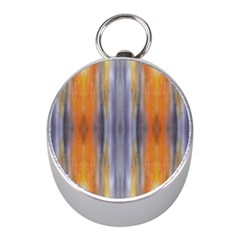 Gray Orange Stripes Painting Mini Silver Compasses by Costasonlineshop