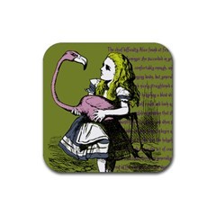 Flamingo Croquet Rubber Square Coaster (4 Pack)