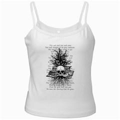 Skull & Books White Spaghetti Tanks