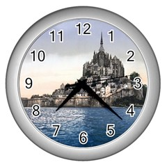 Le Mont St Michel 2 Wall Clocks (silver)  by trendistuff