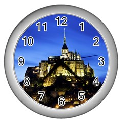 Le Mont St Michel 1 Wall Clocks (silver)  by trendistuff
