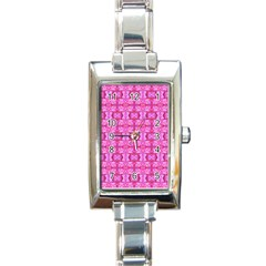 Pretty Pink Flower Pattern Rectangle Italian Charm Watches by Costasonlineshop