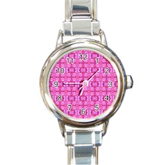 Pretty Pink Flower Pattern Round Italian Charm Watches