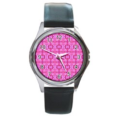 Pretty Pink Flower Pattern Round Metal Watches by Costasonlineshop