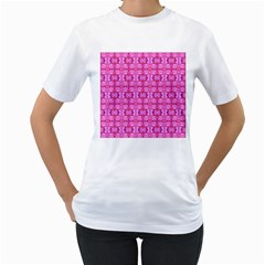 Pretty Pink Flower Pattern Women s T-Shirt (White) (Two Sided)