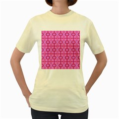 Pretty Pink Flower Pattern Women s Yellow T-Shirt