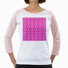 Pretty Pink Flower Pattern Girly Raglans
