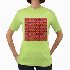 Pretty Pink Flower Pattern Women s Green T-Shirt