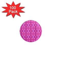 Pretty Pink Flower Pattern 1  Mini Magnets (100 pack)