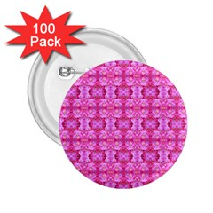 Pretty Pink Flower Pattern 2.25  Buttons (100 pack)