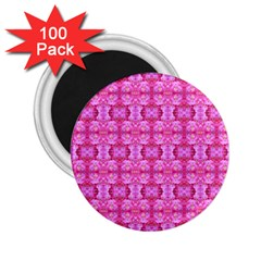 Pretty Pink Flower Pattern 2.25  Magnets (100 pack)