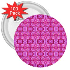 Pretty Pink Flower Pattern 3  Buttons (100 pack)