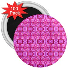 Pretty Pink Flower Pattern 3  Magnets (100 pack)