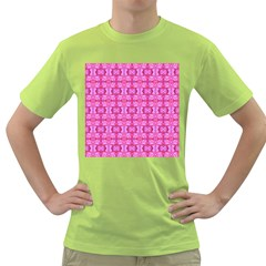 Pretty Pink Flower Pattern Green T-Shirt